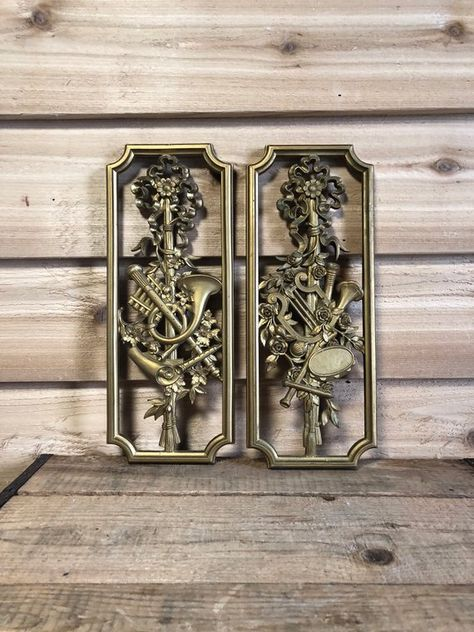 Vintage Homco Musical Instrument Wall Decor Resign Gold Color USA ...