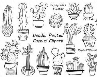 Big Set Of Doodle Sweets Cliparttea Time Clip Art Dessert Etsy Cactus Clipart Doodles Flower Doodles