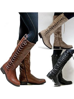 Graceful Ladies Mid Calf Boots Lace Up Block Heels Riding Casual Comfort Shoes