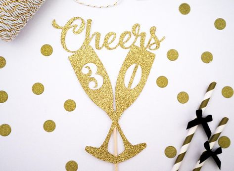 Cheers Champagne Glasses Number Glitter Cake Topper - Birthday - Age - Anniversary - Year - Wedding