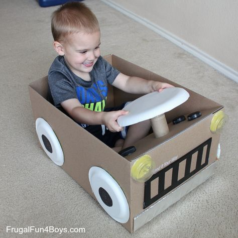 Create a Cardboard Box Car Create a Cardboard Box Car Cardboard Box Car steering wheel turns properly! The post Create a Cardboard Box Car appeared first on Craft for Boys. Crafts For Boys, Toddler Crafts, Preschool Crafts, Projects For Kids, Diy For Kids, Cardboard Car, Cardboard Box Crafts, Cardboard Playhouse, Cardboard Furniture