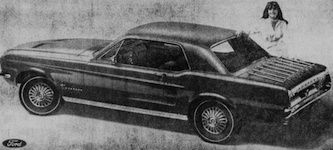 The Nebraska Centennial Special Hardtop Mustang was a Sport Sprint upgraded Mustang hardtop which included one of four special order exterior paints: Centennial Blue, Lincoln Green, Summer Wheat, or Big Red. The Sport Sprint upgrades included 6-cylinder engine, white sidewall tires, full wheel covers, functional louvered hood, rocker panel moldings, chrome air cleaner, decal and vinyl covered shift lever (for automatic transmissions), and optional luggage rack