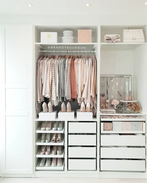 A round-up of the best closet makeovers using the IKEA Pax system with hacks to make it look custom and solutions for creating the most functional closet. Bedroom Closet Design, Room Ideas Bedroom, Closet Designs, Small Closet Design, Custom Closet Design, Custom Closets, Ikea Closet System, Ikea Pax Closet, Ikea Closet Storage