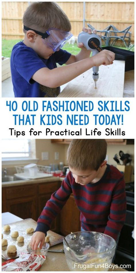 40 Old-Fashioned Skills that Kids Need to Know TODAY! Print a list of 40 simple skills that parents or teachers can teach. Plus tips for making practical life skills a part of everyday life! Teaching Life Skills, Teaching Kids, Kids Learning, Preschool Life Skills, Life Skills Kids, Skills To Learn, Parenting Teens, Parenting Advice, Parenting Classes