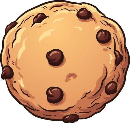 Chocolate Chip Cookie Vector Clip Art Illustration With Simple Gradients All In A Single Layer In 2020 Cookie Vector Chocolate Chip Cookies Cookie Drawing
