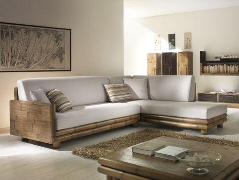 Loungegarnitur - Bambus Ecksofa Genova Wohnzimmer Sofa selber - bambus im wohnzimmer