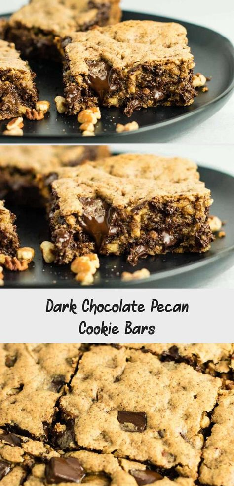 (Death by Chocolate) Dark Chocolate Pecan Cookie Bars recipe – gluten free and dairy free. You won't believe how good these are! Serve warm with a scoop of vanilla ice cream! #glutenfree #dairyfree #cookiebars #dessert #chocolate #Christmaspecanrecipes #pecanrecipesThanksgiving #pecanrecipesVideos #pecanrecipesSavory #pecanrecipesPaulaDeen
