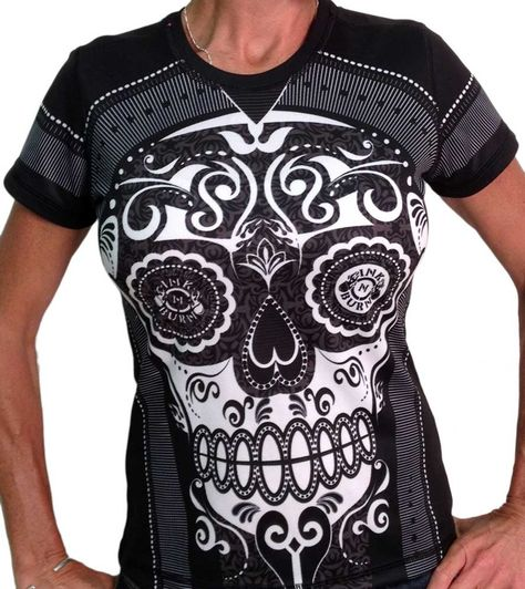 4e69ab21 You'd look pretty tough and maybe scare off some competition with this shirt!!  Women's Sugar Skull Tech Shirt