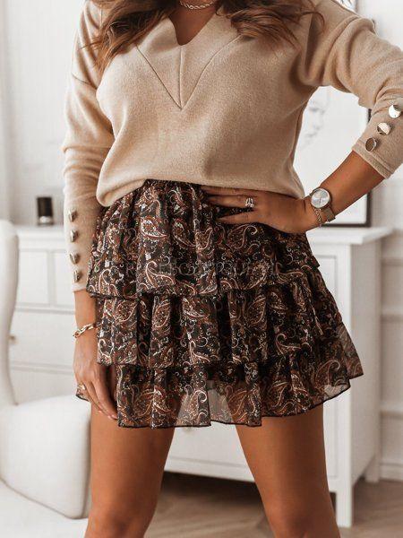 Czarna Szyfonowa Spodniczka W Karmelowy Wzor Fashion Skirts Skater Skirt
