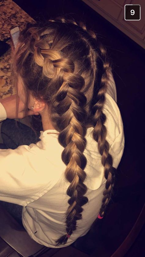 Dutch braids pulled out - # pulled out .-Holländische Zöpfe herausgezogen – – Dutch braids pulled out – # pulled out – - Braided Ponytail Hairstyles, Dread Hairstyles, Cute Hairstyles, Hairstyles 2018, Hairstyles Videos, Wedding Hairstyles, Bridesmaid Hairstyles, Protective Hairstyles, Braided Updo