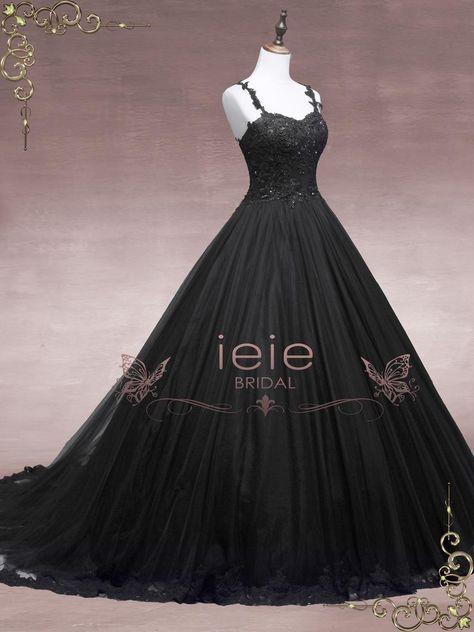 Black Wedding Gowns, Dream Wedding Dresses, Gown Wedding, Lace Wedding, Black Gowns, Black Formal Gown, Ombre Wedding Dress, Wedding Hijab, Crystal Wedding