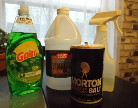 Start with a gallon of white vinegar.  The average vinegar is 5% acidic and will work,if you can find one that's 10% - 20% mixture will be more potent.  Pour vinegar in a pot; Heat on stove.   Add 1 c. of salt. Stir til salt dissolves.  Let cool. Add 2 T. liquid dish soap. Vinegar, when diluted with a gallon of water makes a good fertilizer for acid-loving plants like azaleas and blueberries.  When mixed full strength with salt, it works like Round-Up. Soap helps mixture stick to leaves…