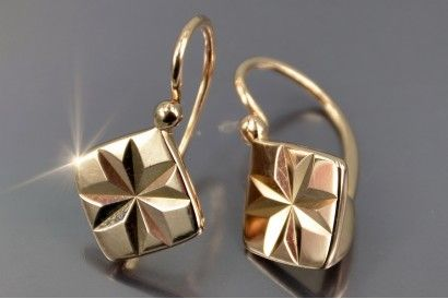Russian Rose Gold Earrings Vens049 Rose Gold Earrings Gold Earrings Gold