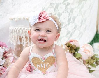 girl birthday gift baby shower gift, cake smash outfit flower girl headband light pink elastic headband white flower headband