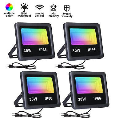4pack 50w 30w 10w Rgb Led Flood Lights Outdoor Landscape Light Spotlight Lamp Ebay In 2020 Led Flood Led Flood Lights Flood Lights