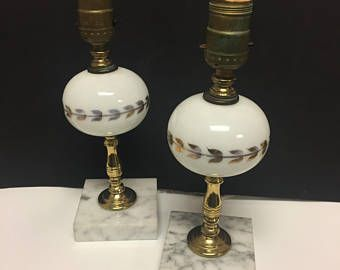 Vintage Milk Glass Lamps White Marble Base Brass And Gold Detailing 10 5 Inch C1940s Milk Glass Lamp Vintage Lighting Lamp