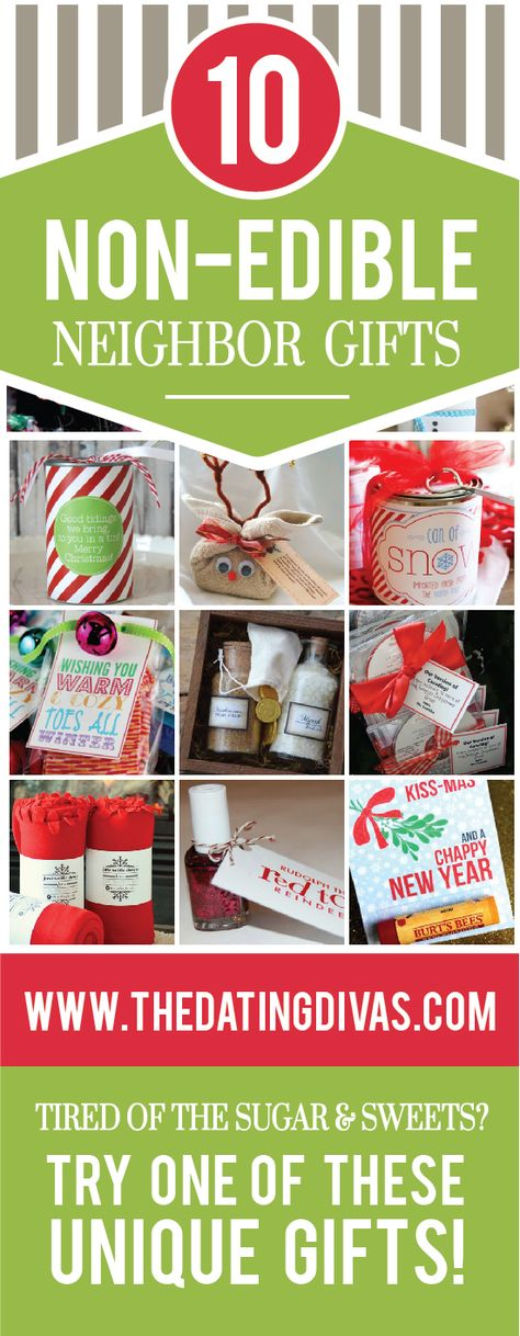 10 Non-Edible Christmas Neighbor Gift Ideas!  These are perfect since we usually get overloaded with plates of cookies and candy at Christmas.  TheDatingDivas.com