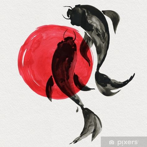 Koi Fish Discover Koi fishes in Japanese painting style. Traditional Beautiful watercolor hand drawn illustration Wall Mural Pixers - We live to change Japanese Drawings, Japanese Artwork, Japanese Tattoo Art, Japanese Painting, Koi Painting, Art Koi, Fish Art, Koi Fish Drawing, Fish Drawings