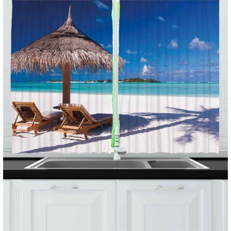 Landscape Curtains 2 Panels Set Island Caribbean Honeymoon Themed
