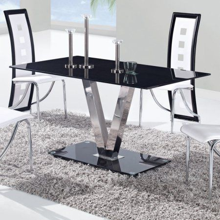Global Furniture Glossy Black Dining Table With Silver V Shape