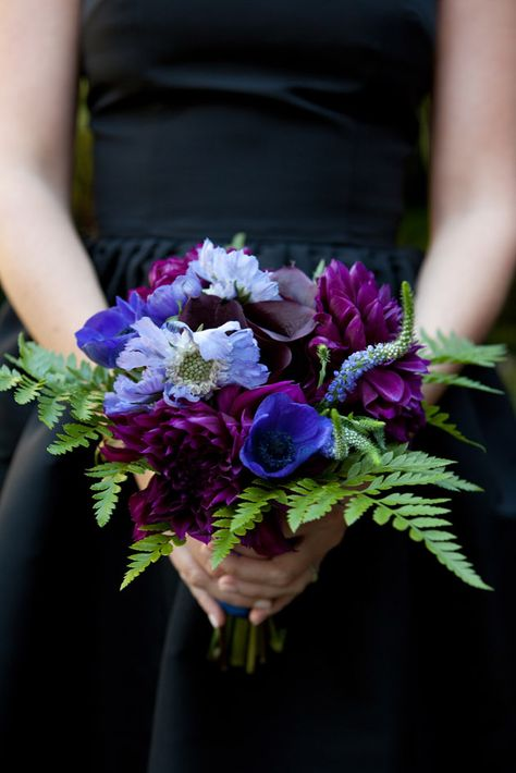 A palette of purples and blues with a touch of forest-y green fern made for magical bridesmaid bouquets at a @Four Seasons Resort The Biltmore Santa Barbara wedding.