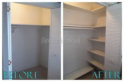 DIY:  Adding shelves to your closet for additional storage space!  Great instructions and pictures:)