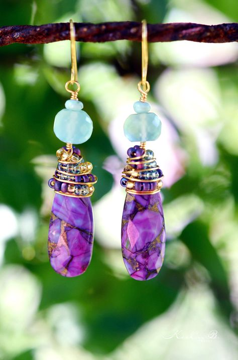 Purple Turquoise and Aqua Blue Chalcedony Gold Wire Wrapped Earrings with Seed Beads.