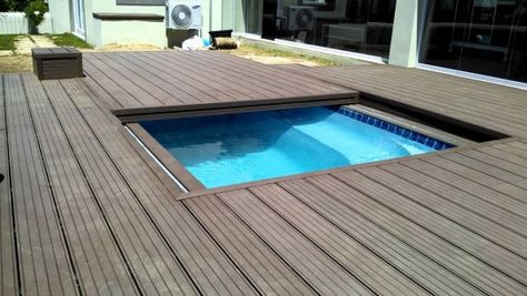 Hard Swimming Pool Covers … | Wood pool deck, Sunken hot tub ...