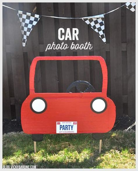 Diy car photo booth vicky barone kids race car birthday party ideas we could totally do this with one of our moving boxes lamborghini huracan perfomante Race Car Birthday, Race Car Party, Cars Birthday Parties, Birthday Diy, Race Cars, Birthday Ideas, Birthday Games, Birthday Decorations, Car Themed Birthday Party