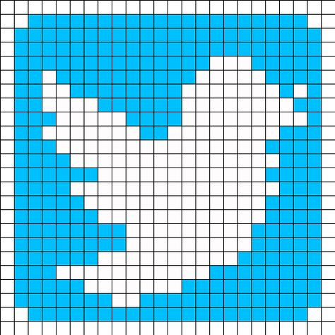 Twitter Logo Perler Bead Pattern Dessin Pixel Pixel Art