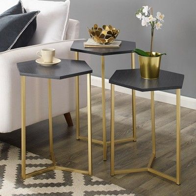Set Of 3 Hex Nesting Tables Graphite Gold Saracina Home Grey Gold In 2019 Nesting Tables Nesting End Tables Gold Nesting Tables