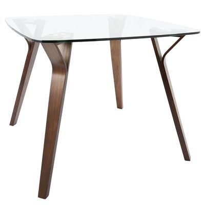 Folia Walnut Glass Square Dining Table Midcentury Modern