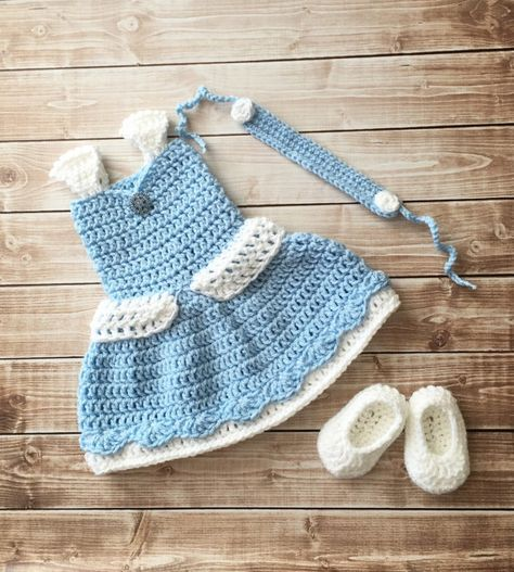 94752838c36 Princess Cinderella Inspired Costume Crochet Princess Cinderella Dress Cinderella Princess  Photo Prop Newborn to 12 Months- MADE TO ORDER