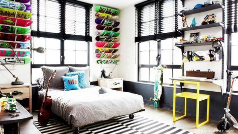 Skateboard Bedroom 43 idées déco avec des planches de skateboard | skateboard, boys