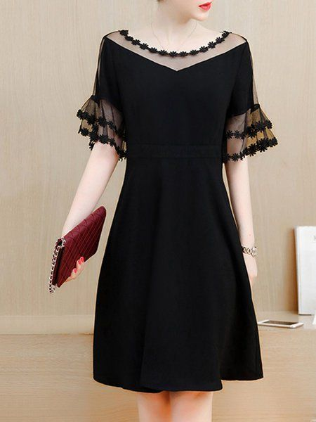 Black Frill Sleeve Plain Eyelet Lace Dress - Thickness: Mid-weight Process: Eyelet,See-through Look,Paneled Occasion: Daily,Going out Waistlines: Natural Theme: Summer,Spring Neckline: Crew Neck .