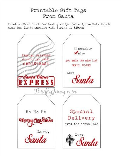 Printable Santa Gift Tags and Other FREE Santa Printables Santa - free printable christmas gift certificate
