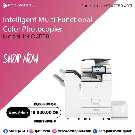 Intelligent Multi-Function Color Photocopier with free shipping all over Qatar.