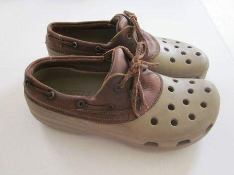 72cb43b6a Crocs Men s Beige Brown Leather Lace Up Ventilated Casual Shoes Sandals  Size 11  Crocs  LoafersSlipOns