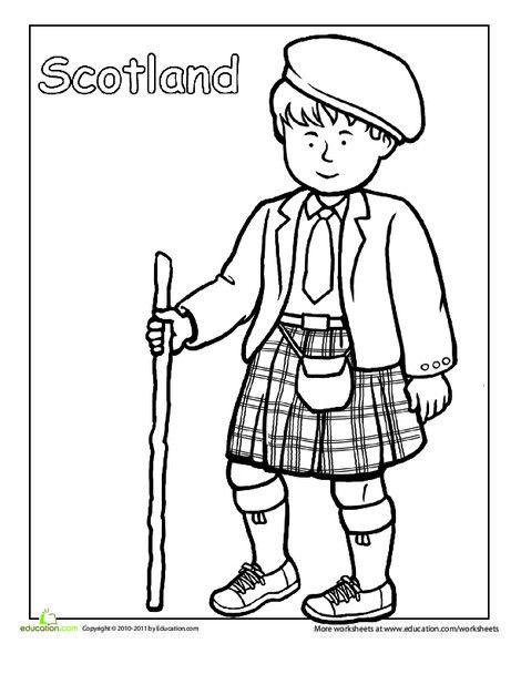 Scottish Traditional Clothing Coloring Page Boyama Kitaplari