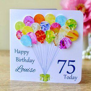 75th Birthday Card Personalised Age 75 Birthday Balloons Etsy Birthday Card Craft 70th Birthday Card Handmade Birthday Cards