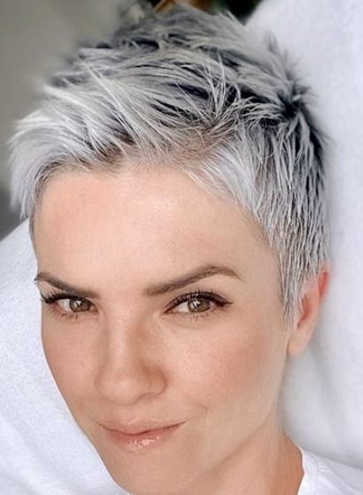 Pin By Jamie Harris On Hair Super Short Hair Short Hair Styles For Round Faces Short White Hair