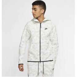 Nike Sportswear Tech Fleece Full Zip Men S Hoodie With Print White Nike Fleece Full Hoodie In 2020 Nike Tech Fleece Windrunner Nike Tech Fleece Tech Fleece Hoodie