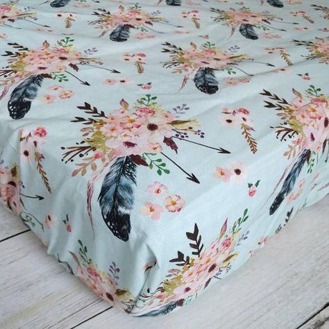 Boho Floral Fitted Crib Sheet - Feather Crib Sheet - Boho Nursery Bedding - Arrow Crib Sheet - Baby Girl Crib Sheet - Floral Nursery