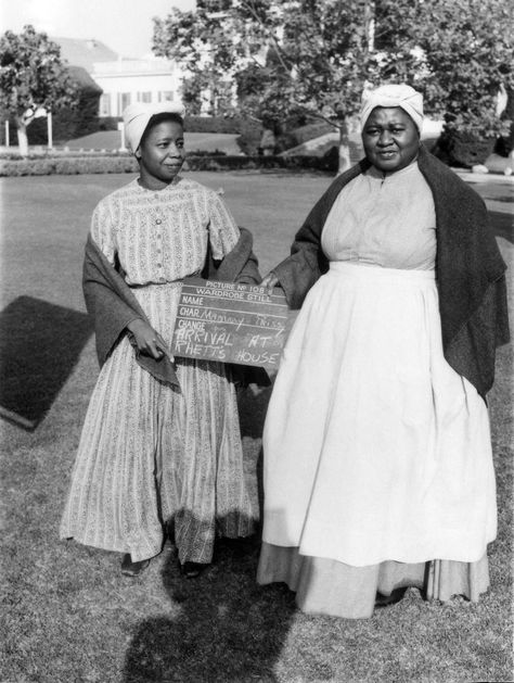 Butterfly McQueen as Prissy and Hattie McDaniel as Mammy in wardrobe stills for 'Gone With The Wind' (1939)