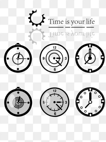 Black Minimalist Theme Clock Collection, Black, Simple Theme