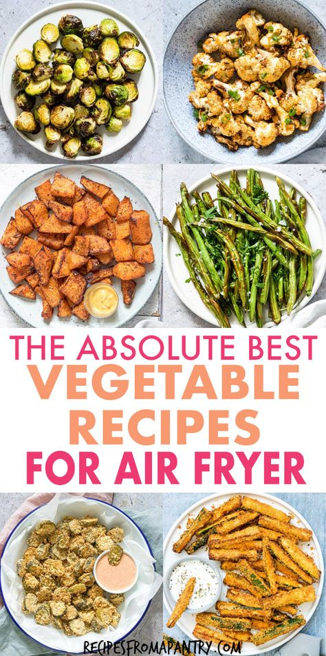 Tired of the same old boring and bland veggies? My Amazing Air Fryer Vegetable Recipes are what you've been looking for! With the air fryer, all it takes is just a few minutes and a tiny bit of oil to serve up totally crave-worthy veggies that are tender in the middle and delightfully crunchy on the outside. Click through to get these amazing air fryer vegetable recipes!! #airfryer #airfryerrecipes #healthyairfryerrecipes #airfryervegetables #eatyourveggies #airfried #air-fryer #vegetables