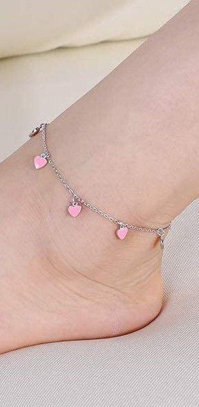 925 Sterling Silver Anklet Pink Enamel Love Heart Ankle Bracelet Dainty Cute Boho Beach Ankle Bracelet Adjustable Ankle Foot Chain for Women Girls
