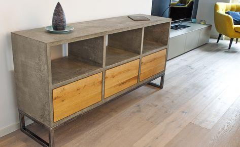 Beton Sideboard mit Schubladen concrete Pinterest Concrete - k che sideboard mit arbeitsplatte