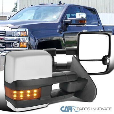 Details About For 14 16 Silverado Sierra Clear Power Heated Tow View Mirrors Amber Led Signal Silverado Black Side Ebay