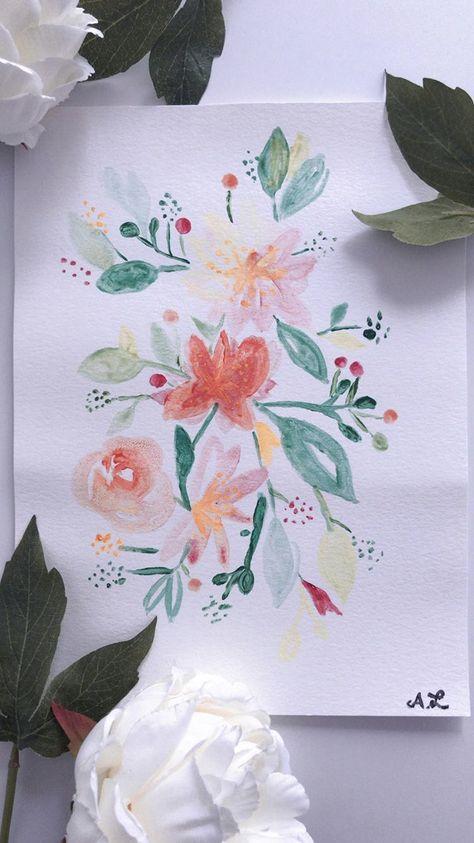 Aquarelle Fleurs Bouquet Pastel Art Peinture Watercolor